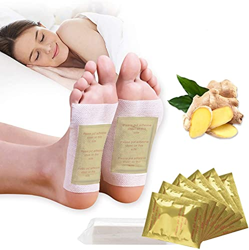 Foot Pads, Kapmore 100pcs Foot Pads for Anti-Stress Relief, Sleeping, Natural Cleansing Foot Pads for Foot Care with 100Pcs Adhesive Sheets (Gold) (Gold)