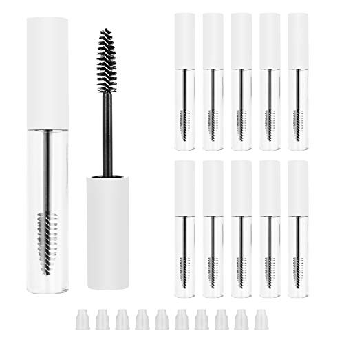 YAIKOAI 10ml Empty Mascara Tube, Eyelash Tubes with Brush Wand Eyelash Cream Container Bottles with Rubber Inserts, Refillable Cosmetic Containers for Castor Oil and DIY Cosmetics (10Pcs, White)