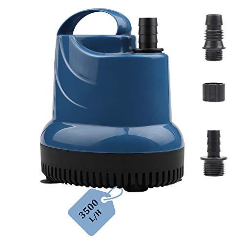 EXLECO Mini bomba de agua sumergible para acuario, 3500 l/h, 80 W, 230 V, altura de extracción de 3,3 m, cable de 2,5 m, diámetro de salida de 16/20/25 mm, para jardines, acuarios, estanques, pozos