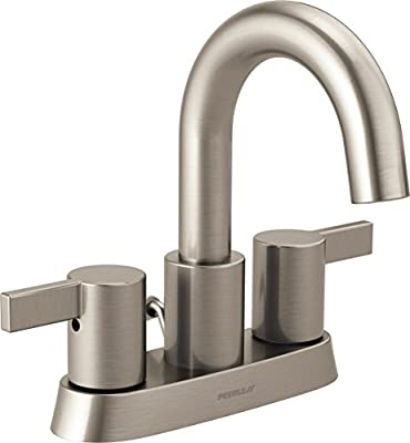 Peerless Precept Centerset Bathroom Faucet Brushed Nickel, Bathroom Sink Faucet, Drain Assembly, Brushed Nickel P299102LF-BN