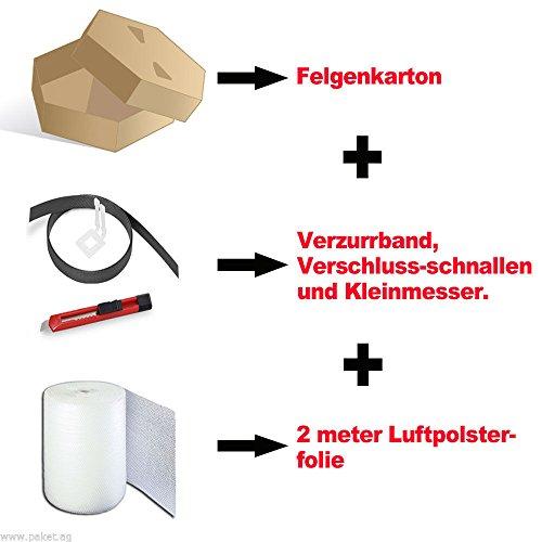 4 Felgenkartons+Luftpolsterfolie+Verzurband und Schnallen+Messer ! Top Angebot!