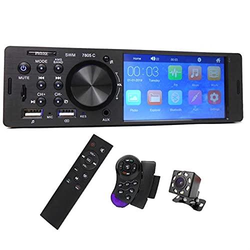 MJJCY Bluetooth 1 DIN 4.1'Touch Screen Car Video MP5 Jugador Bluetooth TF USB Cargadura ISO 7 Colores Iluminación Sistema de Audio Unidad de Cabeza 7805C Multimedia (Color : with Camera)