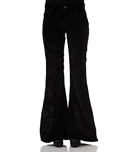 Bohemian Hippie Style fluwelen broek met zwarte slag.
