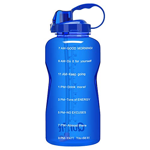 QuiFit 1 Gallon Water Bottle with Straw and Time Marker Leak Proof BPA Free Reusable Large Capacity Fitness Sport Water Jug with Handle(Blue,1 Gallon)