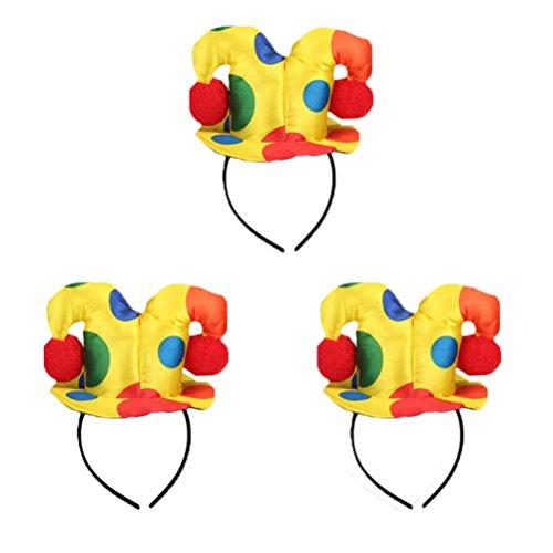 Lurrose 3 stuks clown hoofdband bonte zircus hoed haaraccessoires voor carnaval Halloween Party (Polka dot)
