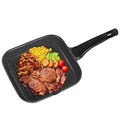 OZAVO Grill Pan, Patelnie do steków BBQ, 24x24x4.5cm Non-stick Sealed, nadaje się do wszystkich płyt grzejnych i odpornych na piekarnik