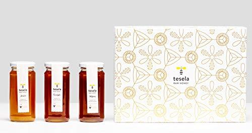 Miel pura gourmet pack regalo 3 variedades (azahar, eucalipto y milflores). 3 x 11.28 oz (320 gramos) cada tarro de cristal