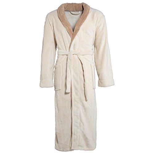 CelinaTex Nevada Bademantel Damen Herren XXXL Creme weiß beige Mikrofaser Saunamantel Coral Fleece Morgenmantel