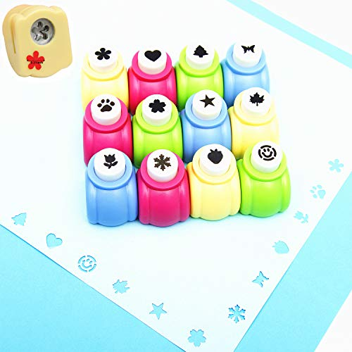12pcs Craft Hole Punch Shapes Set,Small Paper Puncher for Kids,Single Crafting Scrapbook Punches,Star,Butterfly,Leaf,Christmas Tree.Heart,Tag stamp Cards Mini Cutter Nail Arts crafts Punchers Supplies