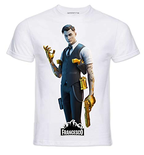 T-Shirt Personaggi Skin PRO' con Stampa Personalizzata. Scegli L'Immagine Che preferisci e personalizzala ►Gratis◄ con Il Nome Che Vuoi (5-6 Anni, Mida)