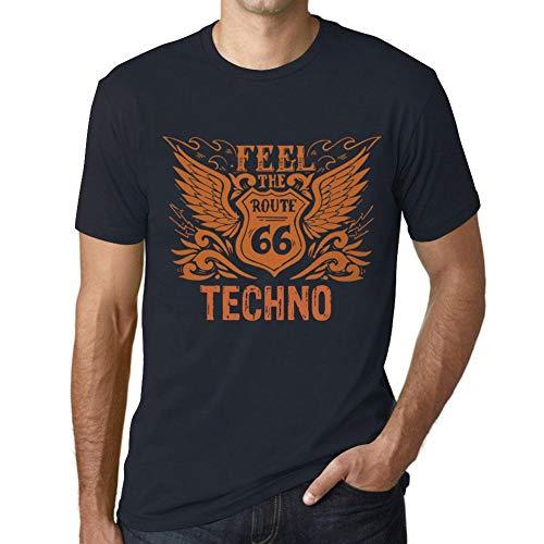 Hombre Camiseta Vintage T-Shirt Gráfico Feel The Techno Marine
