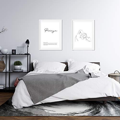 Nacnic Set de 2 Posters lineas Femeninas y Palabras Estilo nordico Blanco y Negro en tamaño A3 Beso Pareja sin Marco