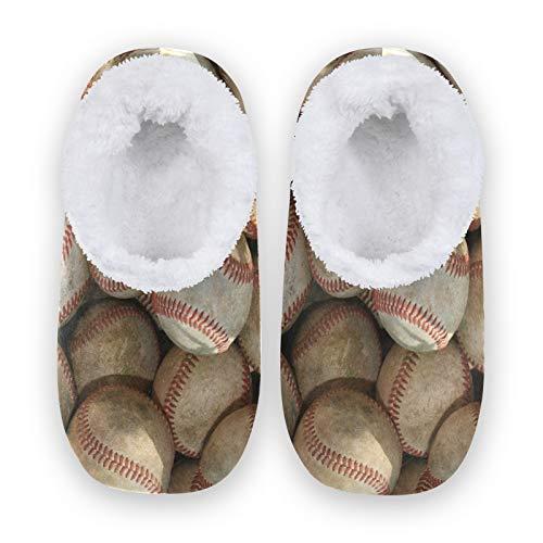 TropicalLife JNlover - Zapatillas deportivas de béisbol para mujer y hombre, con parte trasera cerrada, cómodas zapatillas de forro polar coral para interiores y exteriores, color, talla Medium