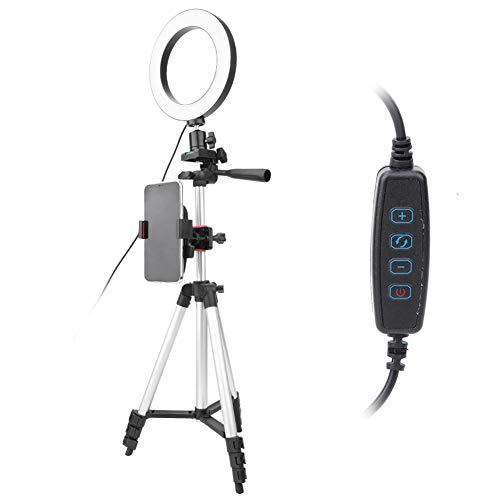LED Ring Light, 6 Inch Dimbare LED Video Ring Light Camera Lamp Kit met Statief Gsm-houder USB-poort