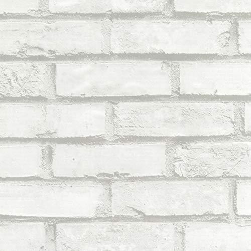 Venilia Klebefolie Optik, Ziegeloptikfolie, Steinoptikfolie, Dekofolie, Möbelfolie, Tapete, Selbstklebende Folie, PVC, ohne Phthalate, Stärke 0,095mm, 54727, Mauer weiß, 45 cm x 1,5 m