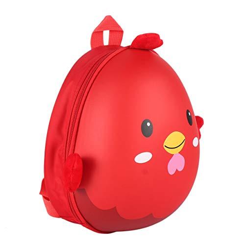 Exclusivas Conchas duras en Forma de Pollitos Kindergarten Primaria Niños Mochilas Escolares Bolsas de Hombro de cáscara de Huevo de Dibujos Animados 3D Impermeables (Color: Rojo)