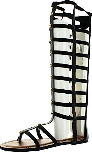 Wild Rose Odelia04 Women Leatherette Open Toe Studded Knee High Gladiator Sandal - Black,Black,6