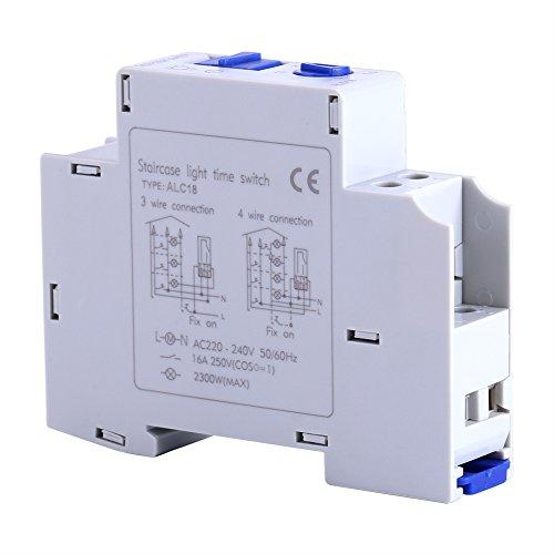 Cikonielf Interruptor De Temporizador De Plástico Abs Sólido Relé Electrónico Interruptor De Tiempo Pasillo Escalera Temporizador Mecánico Electrodoméstico AC 220-240V