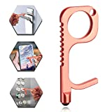 No Touch Keychain Tool, WenX 1Pack Touchless Door Opener Contactless Safe Touch Tools with Stylus Function for Surface Touchscreen Handle Button (Pink)