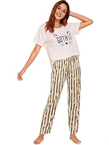 DIDK Damen Pyjama Set mit Katze Cartoon Kurzarmshirt Streifen Schlafhose Schlafanzüge Set Weiß #450 L