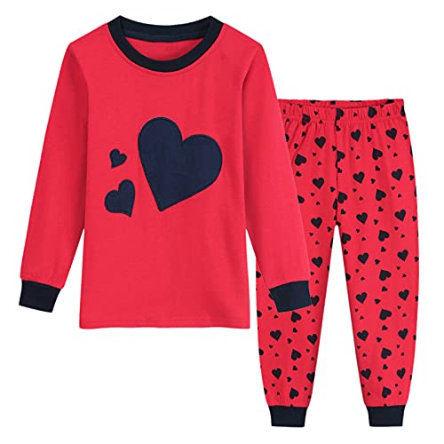 Vacger Toddler Girls Cartoon Pajamas Baby Kids Sleepwear Long Sleeve T-Shirt Pants Trousers Set Outfits Sleepsuits 2-8 Years Red