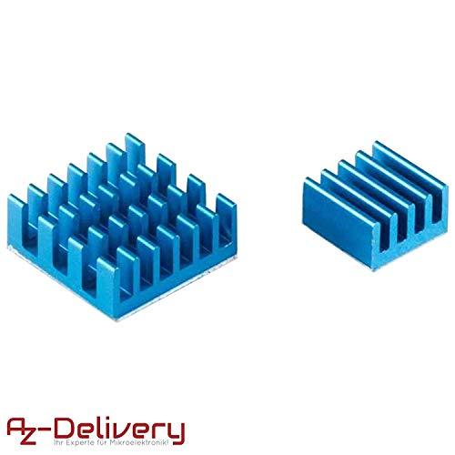 AZDelivery 2er Set blaue Alu Kühlkörper passiv für Raspberry Pi 3 mit wärmeleitender Spezialklebefolie