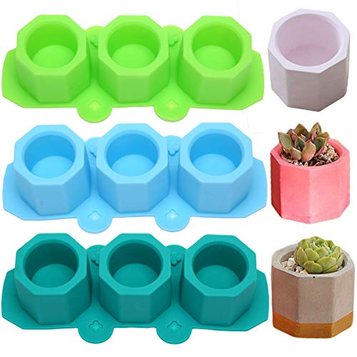 MeiMeiDa 3 Pack Mini Octagon Flower Pot Silicone Molds - Succulent Plant Planter Pot Mold Concrete Cement Plaster Molds, Silicone Ice Shot Glass Molds, DIY Craft Molds for Small Cactus or Seedlings