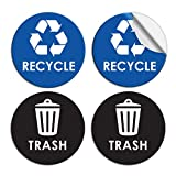 Pixelverse Design Recycle Sticker Trash Can Decal - 6' Large Recycling Vinyl - 4 Pack (Black & Blue)