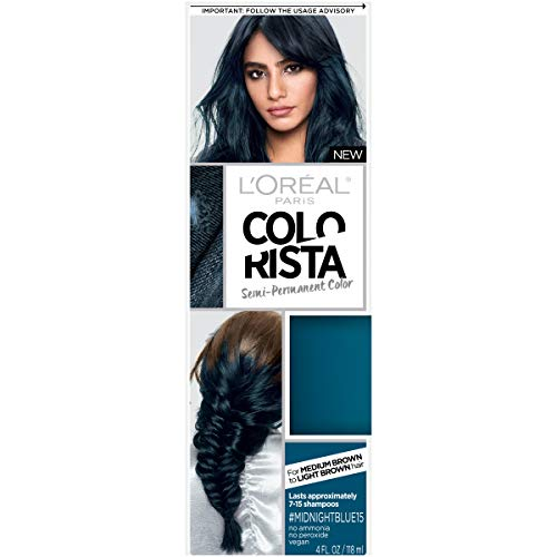 L'Oreal Paris Colorista Semi-Permanent Hair Color for Brunette Hair, Midnight blue