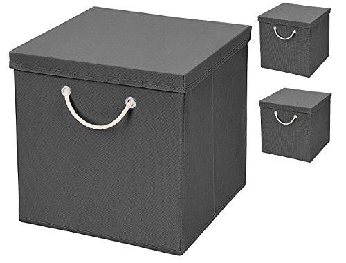 Stick&Shine 3X Aufbewahrungs Korb Dunkelgrau Faltbox 30 x 30 x 30 cm Regalkorb faltbar mit Kordel und mit Deckel