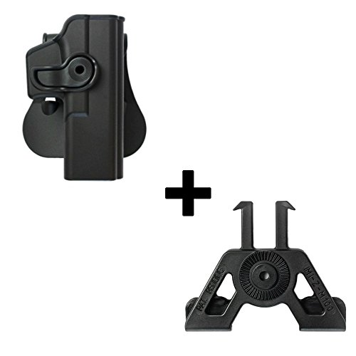 IMI Defense Tactical Retention Rotating 360 roto Paddle Polymer Holster + Molle Adapter Attachment for Glock 17 22 31 28 GEN 4 Pistol Handgun