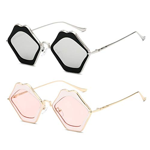 Vrouwen zonnebril Mens Lippen glazen 2 paar anti-uv-bescherming UV400 mixing-1