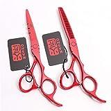 Professional 5.5/6.0 Pulgadas de Gama Alta Tijeras de peluquería Juego de peluquería Adelgazamiento Suministros Herramienta Anterior del salón de Acero Inoxidable + Barbero Shear,Rojo,6.0inch