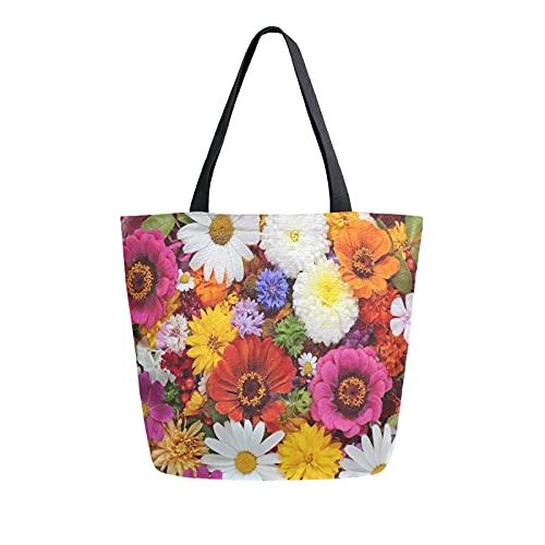 SunsetTrip - Bolsa de lona para mujer, diseño de margaritas, flores y hojas de amapola, bolsa de hombro reutilizable grande, bolsa de compras con bolsillo interior