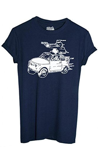 MUSH T-Shirt Edgar de la Cambriole (Lupin) Fiat 500-Dessin Anime by Dress Your Style - Homme-M Bleu-Marine