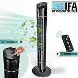 RelaxxNow Ventilador de Torre táctil de 50W Multi Sensor Muestra Temperatura | Ventilador Torre silencioso de 110 cm con Mando a Distancia | Oscilación 60° + 4 Modos | Marca de Calidad Alemana VTX450