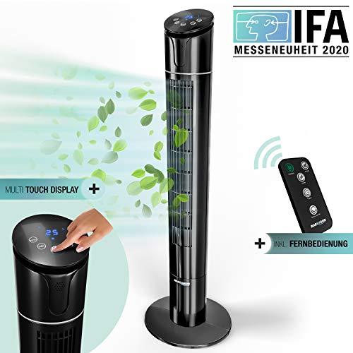 50W Multi Sensor Touch Turmventilator mit Temperaturanzeige| 110 cm leiser Säulenventilator mit Fernbedienung |Deutsche Qualitätsmarke| 60° Oszillation + 4 Lüftungs-Modi| RelaxxNow VTX450 Ventilator
