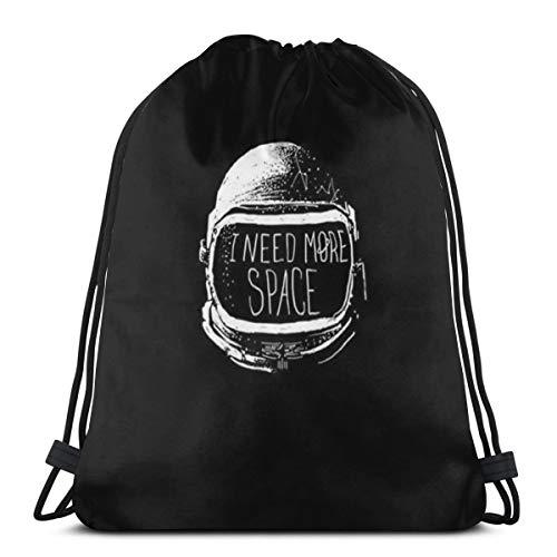 Jhonangel Astronaute Space Stars Gym Bag pour Les Hommes, Cordon Sac à Dos avec Poches Sac en Nylon imperméable Ficelle Grand Sac à Dos 14.2 x 16.9 Pouces / 36 x 43cm