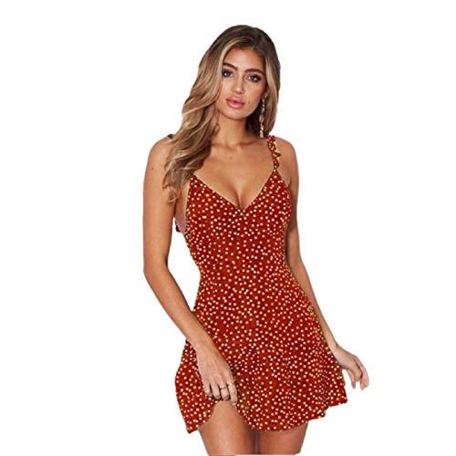 HRSD Elegante Mujer Sexy Vestido Dress Partido Tirantes Verano Vestido de Flores Playa Beachwear Largo Sin Mangas Vestidos Media Mediano,Rojo,XL