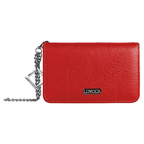 Lencca Kymira Vegan Leather Smartphone Clutch Wallet Purse with Removable Chain Wrist Strap - Wine/Tan