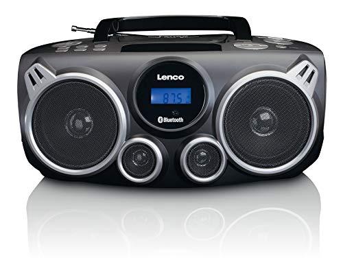 Lenco draagbare CD-speler SCD-100 BK met Bluetooth MP3-speler (USB, SD-kaartlezer, AUX, hoofdtelefoonaansluiting, afstandsbediening) zwart/zilver