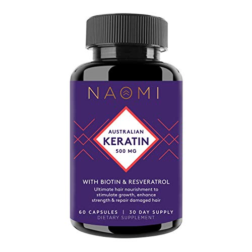 NAOMI Keratin Hair Treatment with Biotin and Resveratrol for Fuller, Thicker Hair and Stronger Nails - Hair Growth Serum for Women - Skin, Nail and Hair Vitamins for Women, 60 Capsules