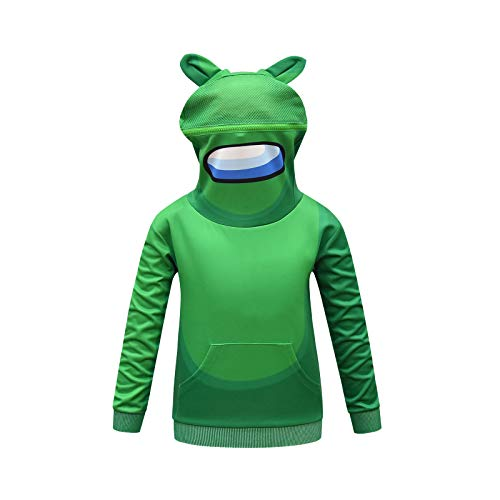A-mong Us Girl Novelty Hoodie Size 8 Sweatshirt Kids Winter Hooded Outfits Boys Astronaut Cosplay Costume Rabbit Easter Gift Fashion Clothes Oversize Pullover Green 140cm