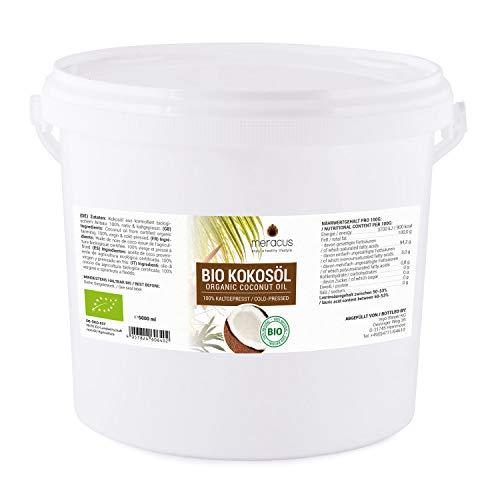 Meracus - Olio di cocco biologico, nativo nel secchio, 1 confezione (1 x 5 l)
