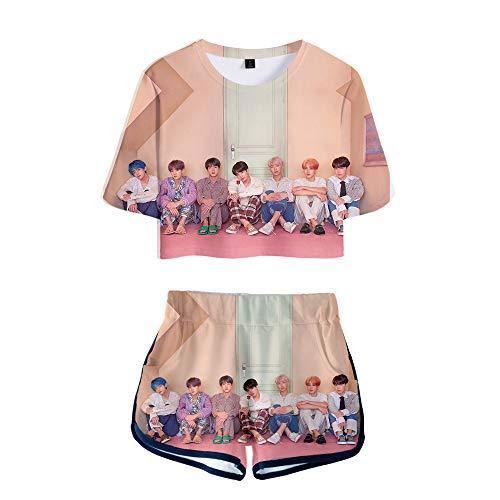 INSTO Damen Nabel Ausgesetzt T-Shirt Kurze Hose 2 Stück Bts Drucken Sportbekleidung Beiläufig Fitness Laufen Yogahosen Kleidungsset Mode Gemütlich/H/M