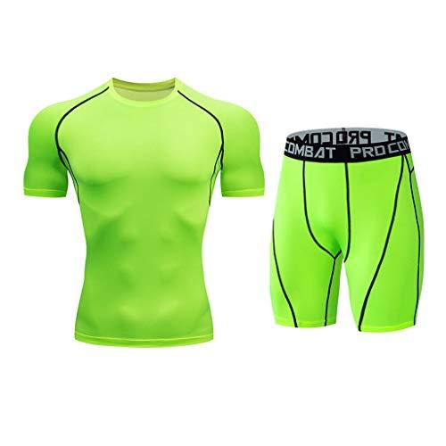 Kompressionsshirt Herren, Sportbekleidung Kompressionshose Trainingsanzug Atmungsaktiv Sportwear Fitness für Laufen Radfahren Yoga (M,1Grün)