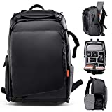 Zecti Camera Backpack DSLR/SLR Camera Bag Backpack Water Resistant Large Camera Backpack with Anti-Gravity System, Tripod Holder, Rain Cover for Photographer Men Women-Elegant Black