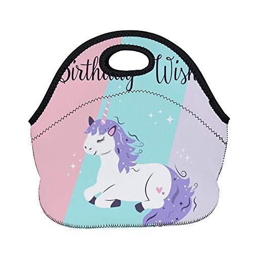 Bolsa de almuerzo Chehong, bolsa de picnic impermeable con cierre de cremallera, tarjeta de cumpleaños mágica con bonito unicornio bolsa de almacenamiento para adultos