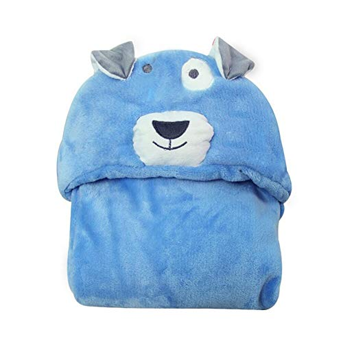 1pc Comfortable Baby Bathrobe Cute Animal Cartoon Babies Blanket Kids Hooded Bathrobe Toddler Baby Bath Towel- Photo Backdrop- Baby Shower Favors-Blue Dog