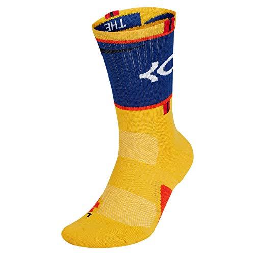 Nike Elite KD Basketball Crew Socks Large (Fits Men Size 8-12, Women 10-13) SX7860-741 Orange, Blue White